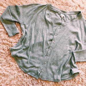 Colsie Sweaters - Colsie Gray Waffle Button-Up, Open Cardigan